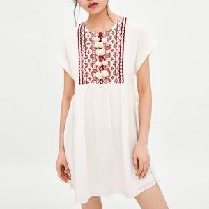 Zara White Embroidered Pom Pom Shift Boho Dress